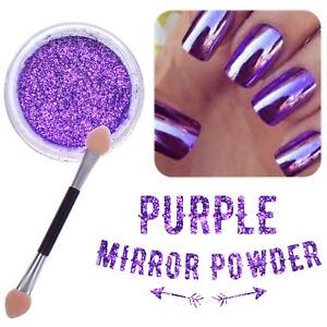New purple nail mirror powder platinum chrome nails - Unghie polvere specchio ...