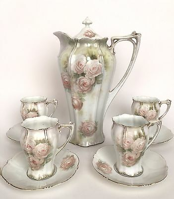 Antique RS Prussia Pink Roses Chocolate Set Pot Four 4 Cups & Saucers Germany