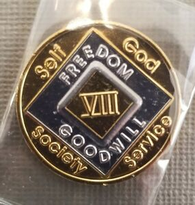 Recovery coins NA 9 Year Bi-Plate Medallion tokens sobriety affirmation birthday