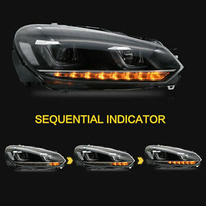 LED-U-Bar-Projector-Headlights-w-Sequential-for-VW-Volkswagen-2012-2013-Golf-R