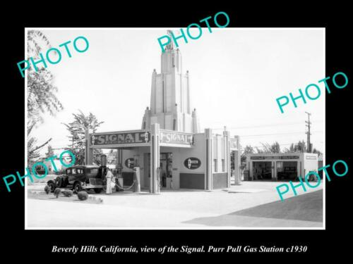 6x4 HISTORIC PHOTO OF BEVERLY HILLS CALIFORNIA, PURR PULL OIL GAS STATION c1930
