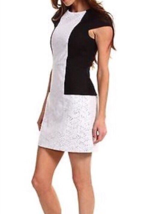 TIBI New York Dress schwarz Weiß Linen Eyelet Career Cap Sleeve  damen's Sz 8