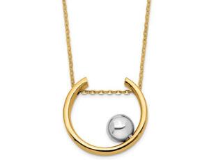 5115b1181 14K White and Yellow Gold Circle Ball Necklace 663481090917 | eBay