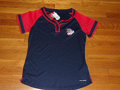 Activewear Nwt Majestic Lehigh Valley Ironpigs Baseball Short Sleeve Jersey Womens Xl
