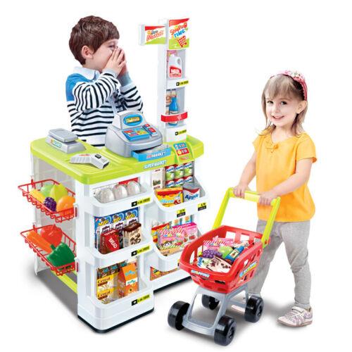 Childrens Kids Supermarket Shop Stall Pretend Toy Food Shopping Basket Play Set