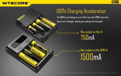 New NITECORE i4 2019 smart battery charger IMR//Li-ion//Ni-MH//Ni-Cd 18650//16340