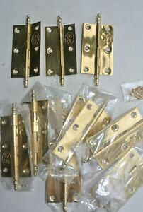 10-small-hinges-vintage-style-polished-solid-Brass-DOOR-light-finial-63mm-screw