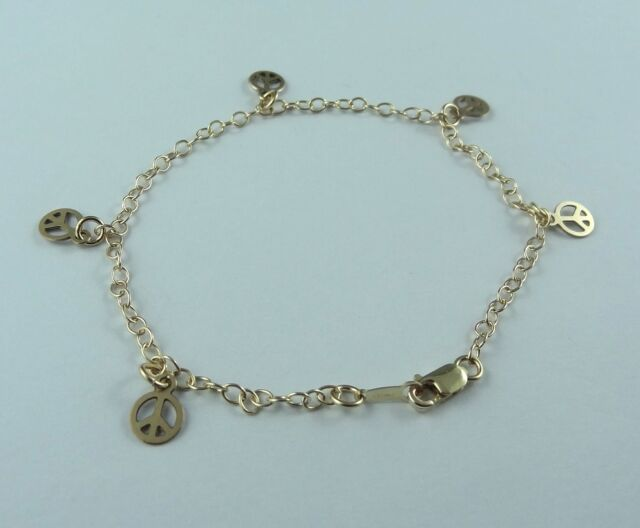 Peace Sign Bracelet Chain 14k MADE IN USA Gold Filled Stamped