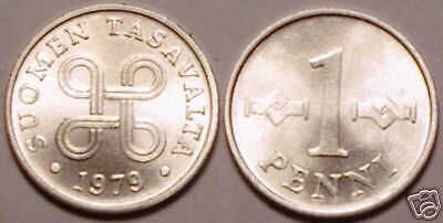 UNCIRCULATED 1979 FINLAND 1 PENNI/<LAST YEAR EVER MINTED