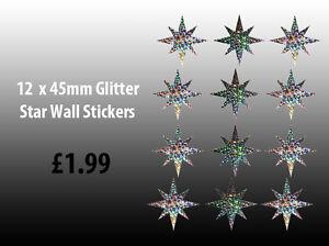 NEW-12-x-Glitter-Star-Wall-Art-Stickers-Decals-12-x-45mm-Glitter-Stars