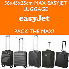 EasyJet 56x45x25 Max Large Cabin Hand Luggage Suitcase Travel Trolley Bags