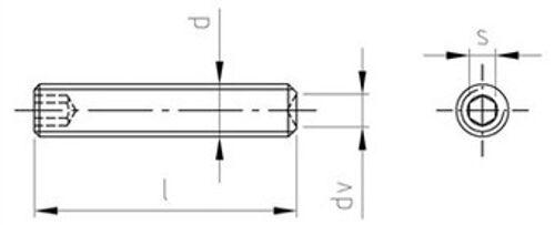 DIN 916 ISO 4029 Gewindestifte Innensechskant mit Ringschneide Edelstahl A2 div.
