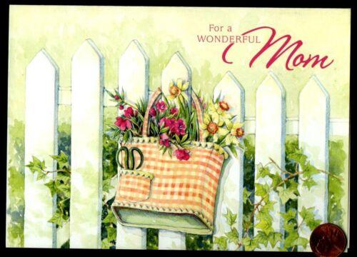 Birthday Mom Mother Picket Fence Basket Flowers EMBOSSED Birthday Greeting Card
