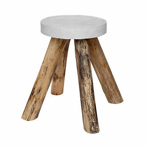 Table D\'Appoint en Bois de Teck Bêton Rond Pierre Basse Blanc Jardin ...