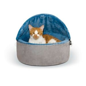 K-amp-H-Self-Warming-Self-Heating-Hooded-Cat-Kitty-Bed-Small-Blue-Gray