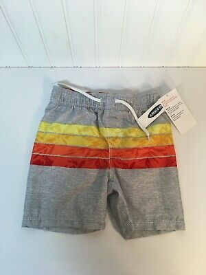 Toddler OLD NAVY Boys Swim Suit Trunks BLUE STRIPE UPF 50 Sz 18 24 Month 2T NEW