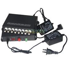 1 Pair 8 Channel Video/Data/Audio Fiber Optic Media Converter 8v1d Singlemode
