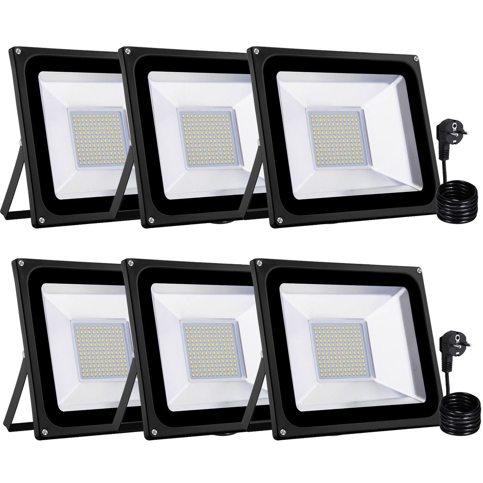 6x 100w LED eh con conector emisor exterior reflector colocado lámpara blancoo cálido ip65 nuevo