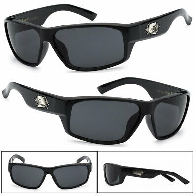 Locs Mens Cholo Biker UV400 Sunglasses Shiny Black LC37