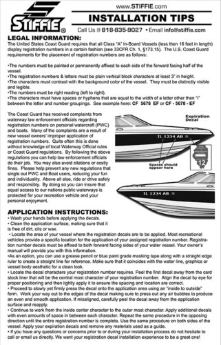 STIFFIE Whip-One WO01 BLACK Identification Boat Decals Registration Numbers