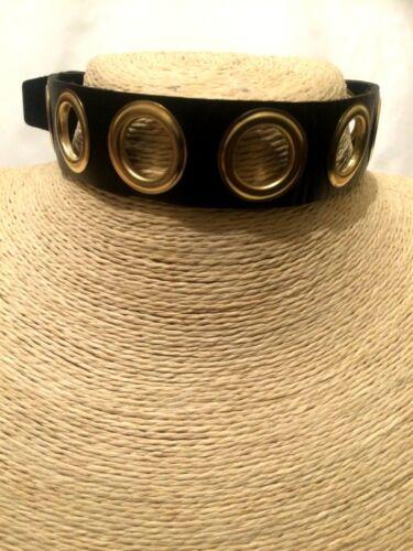 Declaración Negro Imitación Cuero Oro O-ring Gargantilla Collar Gótico Punk agujero Punch