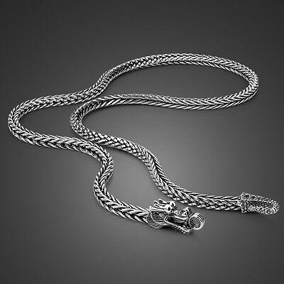 Genuine Solid Sterling Silver Thai Silver Dragon Chain Men's Necklace PN524