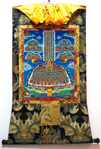 "35/"" Tibet Buddhist Thangka Lama Master Tsongkhapa Gelug Lineage In Refuge Field"