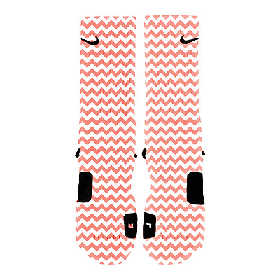 Custom Nike Elite Socks CHEVRON SALMON