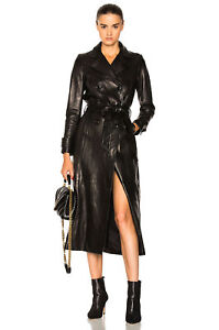 09f8fcafcb4df Image is loading Black-Leather-Trench-Coat-Women-039-s