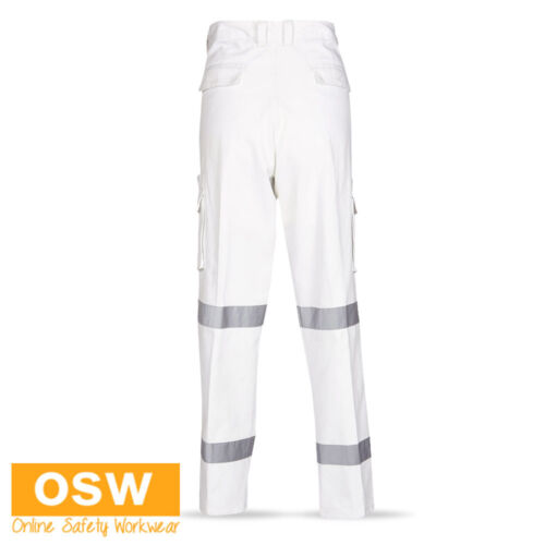 3 X MENS WHITE RTA NIGHT WORKER REFLECTIVE BIOMOTION COTTON DRILL WORK PANTS