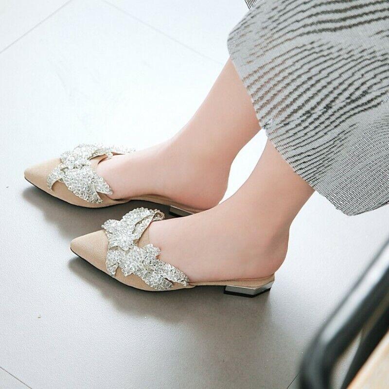 Donna Pointed Toe Flat Mule Slide Slide Slide Sequins Bling Flats scarpe Slipper Dimensione 34-48 031a34