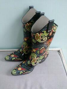 689c3f38378 Details about Corkys Paisley Floral Nomad Rubber Rodeo Western Cowboy Rain  Boots Women Size 8