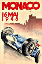 MONACO  1948  Grand Prix  Motos Automobile Car Race  Deco Auto  Poster Print