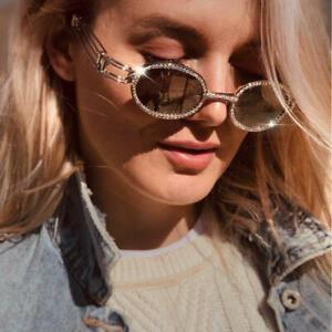 Retro-Sunglasses-Woman-Round-Vintage-Steampunk-Men-Clear-Lens-Rhinestone-Fash-JT