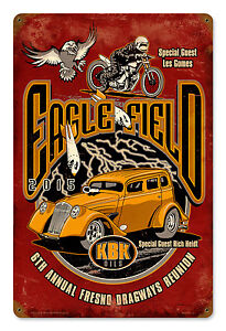 Eagle-Field-2015-Fresno-Dragways-Reunion-Metal-Sign-Rich-Heidt-039-s-Willys-Sedan