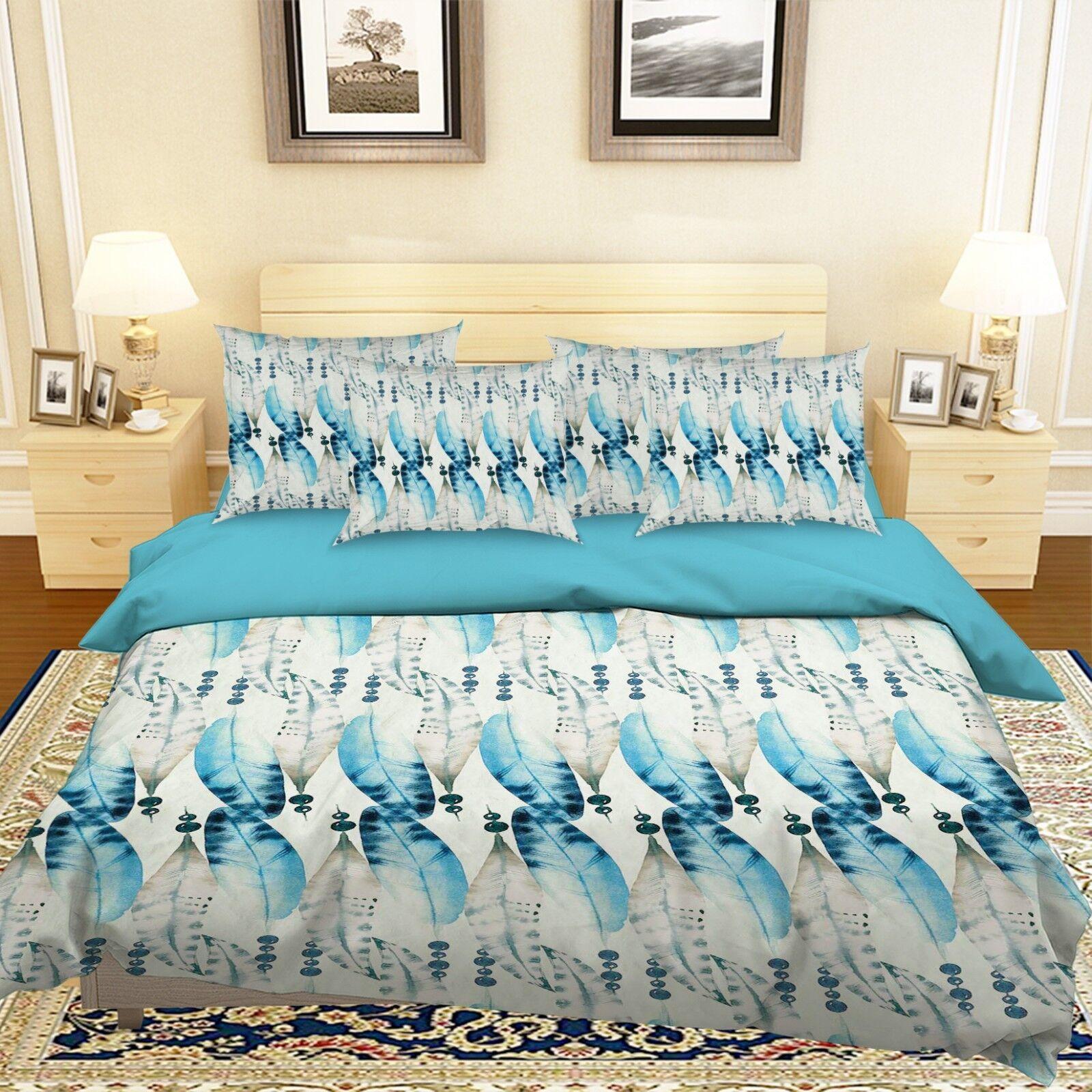 3D Blau Feather 685 Bed Pillowcases Quilt Duvet Cover Set Single King UK Lemon
