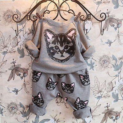 2pcs Kids Baby Boy Girls Toddler Cat T-shirt Tops+Long Pants Set Clothes Outfits