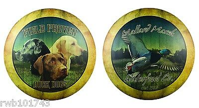 Labrador Retriever Dog & Mallard Duck hunting cabin metal wall art tin sign set