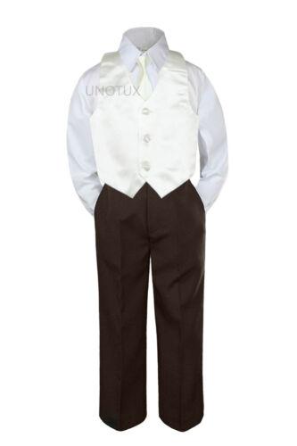 23 Color 4pc Boys Suits Vest Necktie Set Baby Toddler Kid Formal Brown Pants S-7