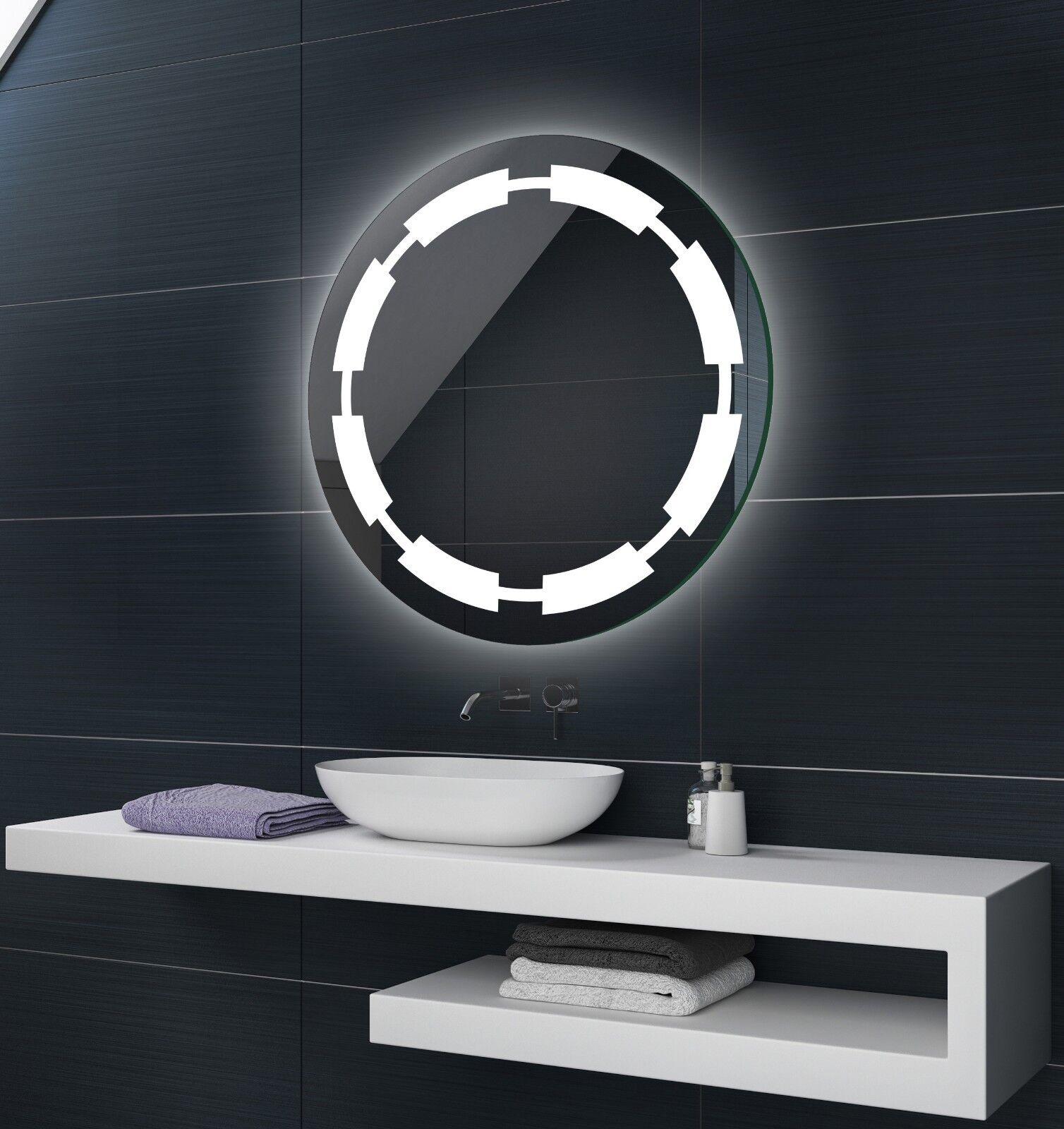 RUND Badspiegel mit LED Beleuchtung Badezimmerspiegel ...