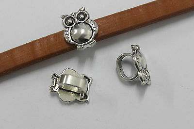 10pcs Antique Silver Owl Slider Spacer Beads Findings for Licorice Leather Cord