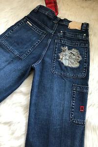 Vintage-JNCO-85-Jeans-Wide-Leg-Skater-Rave-Baggy-Red-Crown-Logo-Size-30-x-30