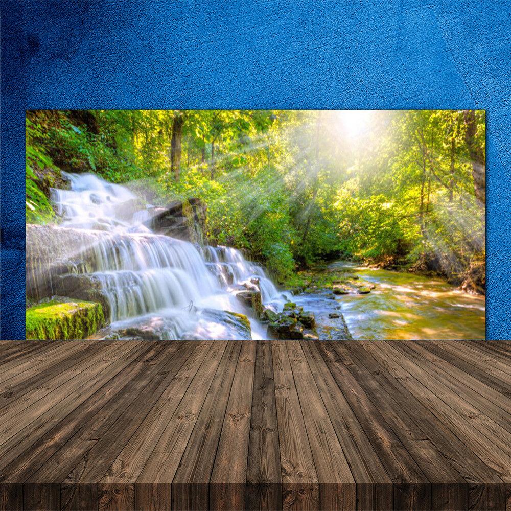 Crédence de cuisine en verre Panneau 120x60 Nature Chute D'eau Forêt