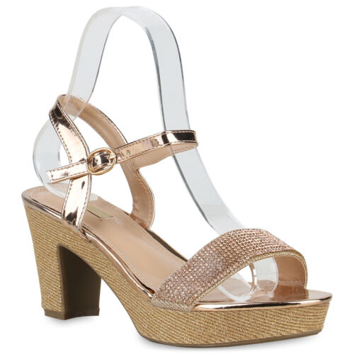 Damen Abiball Plateau Sandaletten Strass High Heels Glitzer Party 826119 Trendy