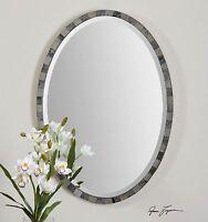 29 Light & Dark Antiqued Mirror Frame Oval Beveled Wall Mirror Modern Vintage