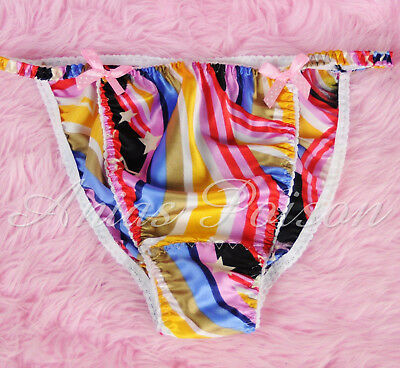 Sissy Mens Satin Panties In Rainbow Pride Print string Bikini Underwear S 2XL