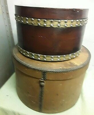 Two Vintage Hat Boxes One Hand Painted