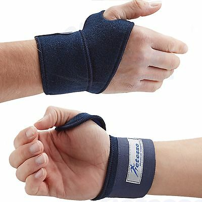 Actesso Blue Wrist Support Wrap Bandage Guard Hand Gym Sports Strap RSI Pain