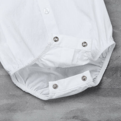 Baby Boys Gentle Romper Wedding Formal Suit Shirt Bowtie Tuxedo Bodysuit Toddler