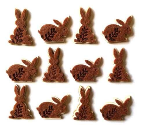 12 Wooden /& Felt Rabbit Embellishments New C0267